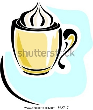 Coffee cup with cream.Vector illustration