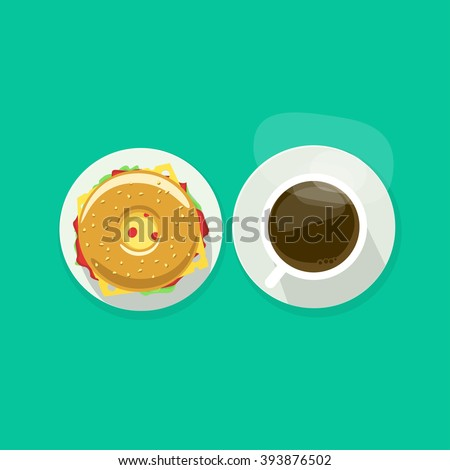 Coffee cup with donut sandwich top view vector illustration, coffee break, breakfast meal, fast food snack, burger and tea mug on plate flat simple cartoon design isolated on green background - stock vector