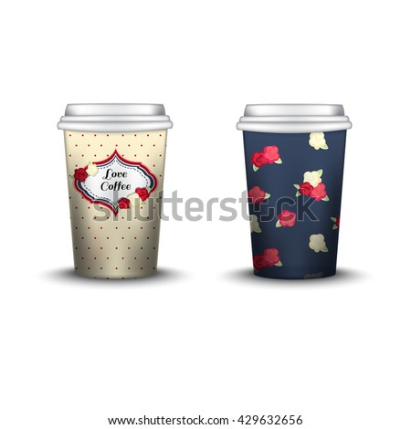 Coffee Cup With Patterns Template. Vector Illustration. Takeaway coffee cup set, Mockup isolated on white background. Packaging collection.  shabby chic swatch inside