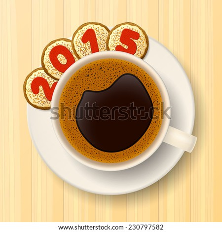 Coffee cup with saucer and cookies with red numbers, forming together the number 2015, on wooden background - stock vector