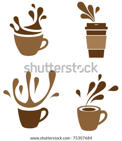 coffee cup with splash - stock vector
