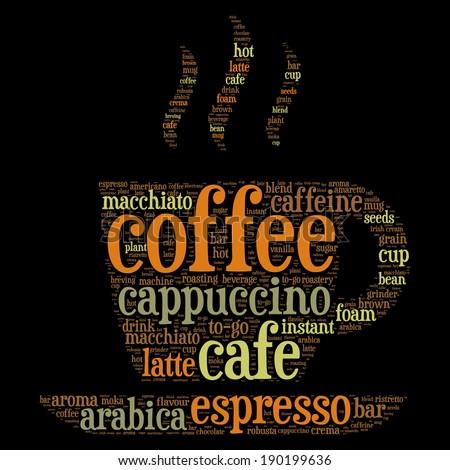 Coffee cup word cloud concept in vector - stock vector