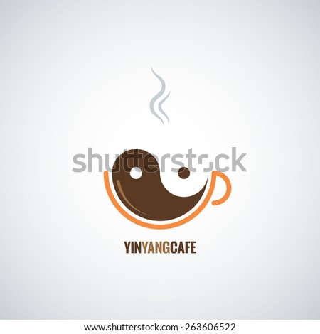 coffee cup yin yang background - stock vector