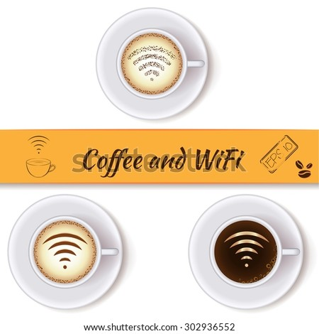 Coffee cups and wifi symbol concept icons, design elements. Cups of coffee with wifi sign. Internet cafe with open wifi hotspot - stock vector