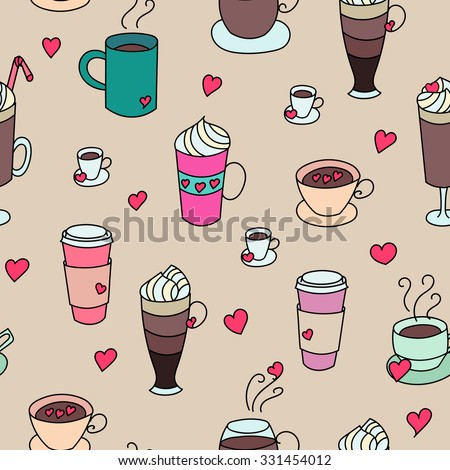Coffee cups colorful cute seamless vector pattern. Hand drawn coffee cups set for textile or wrapping paper postcard poster graphic design for coffee shops. Super cute coffee cups. - stock vector