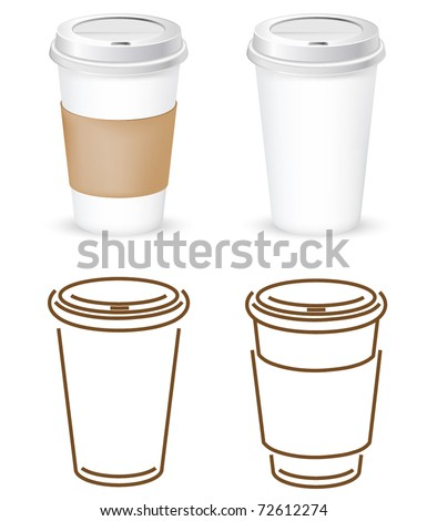coffee cups outlines and realistic vectors - stock vector