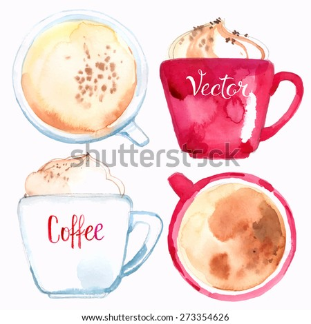 Coffee cups painted with watercolors on white background. Vector - stock vector