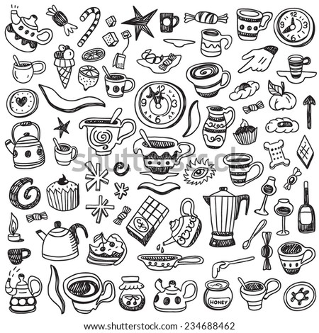 coffee cups, tea cups and sweets - doodles set - stock vector