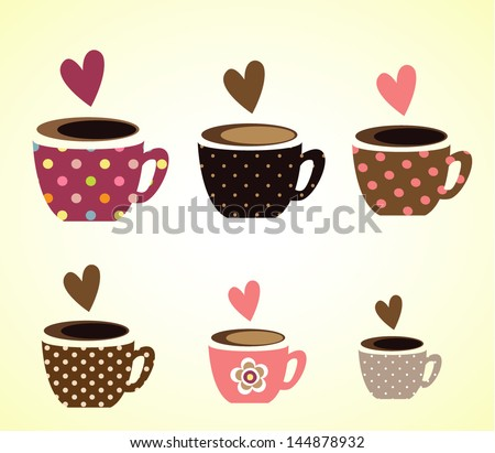 coffee cups vector - stock vector