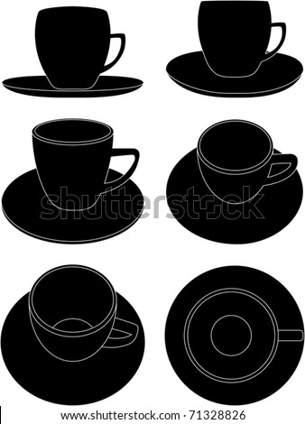 coffee cups-6 views - stock vector
