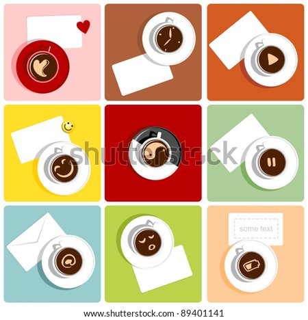 Coffee cups with humorous icons that depict emotions, moods and energy - stock vector