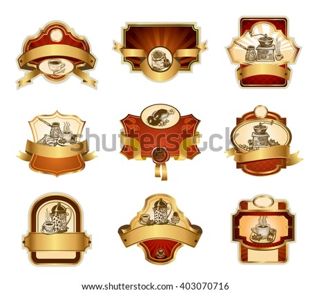 Coffee design templates ornamental labels set. Easy to scale and edit. All pieces are separated. - stock vector