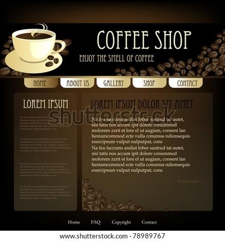 Coffee design website template, vector - stock vector