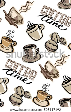 Coffee  doodle seamless pattern - hand drawn illustration.  Hand drawn coffee set. Vector illustration.