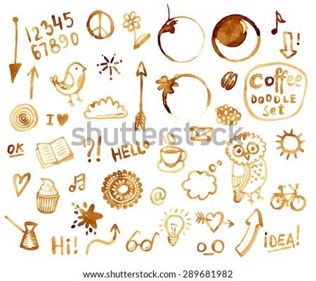 Coffee doodles set - stock vector