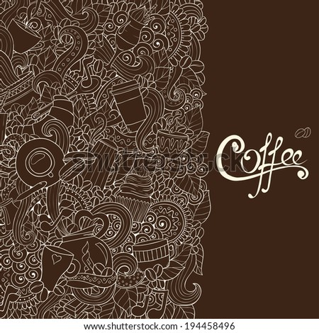 Coffee Doodles Sketch. Hand-Drawn Vector Illustration. Coffee Design Template. - stock vector