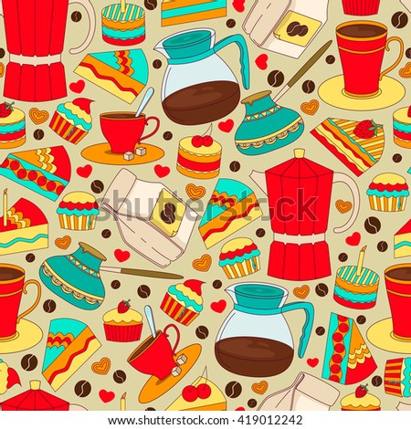 Coffee Doodles tableware seamless pattern.Vector hand drawn coffee theme sketches, devices, teapot,coffee making.Vintage colorful Coffee background for cafe menu.Illustration,wallpaper.Coffee doodle - stock vector