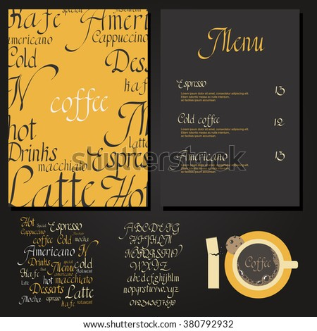 Coffee drink menu Set with cursive lettering and different coffee recipes - stock vector