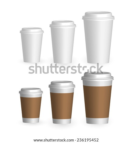Coffee drinking cups sizes set, vector illustration - stock vector