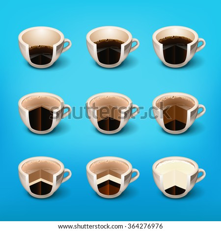 coffee drinks layer  espresso, cup of black coffee.  drinks recipes. morning cup of coffee.Coffee Break . Coffee time, elements .Menu for restaurant, cafe, bar - stock vector