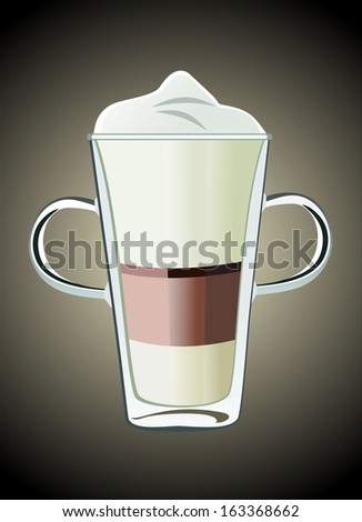 Coffee drinks with cream in glass - stock vector
