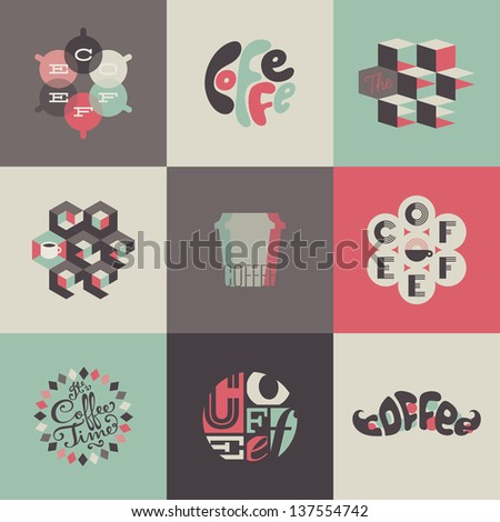 Coffee emblems and labels. Set of design elements - stock vector