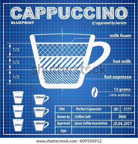 Coffee espresso composition making scheme blueprint stock vector hd coffee espresso composition and making scheme in blueprint paper drawing style print background composition of malvernweather Gallery