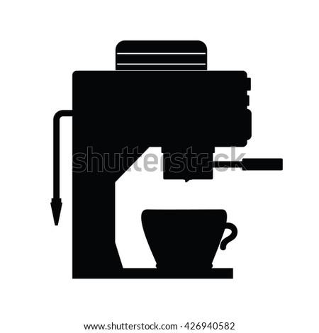 coffee espresso maker illustration in black color - stock vector