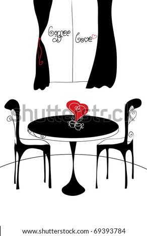 Coffee for couple in romantic cafe - stock vector