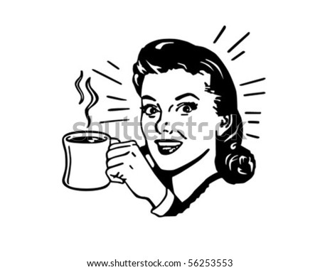 Coffee Gal With Hot Cup Of Java - stock vector