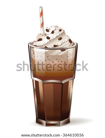 coffee glass with chocolate topping on cream and straw. Vector icon. - stock vector