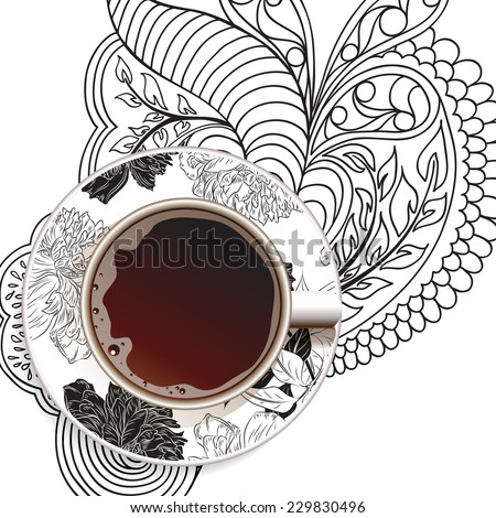 Coffee. Good Morning. Realistic white cup of coffee. Hand drawn coffee with ornament and flower background. Vector illustration 10 EPS - stock vector