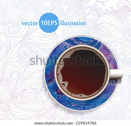 Coffee. Good Morning. Realistic white cup of coffee. Ã?Â??offee with geometric ornament and hand drawn ornate background. Vector illustration 10 EPS - stock vector