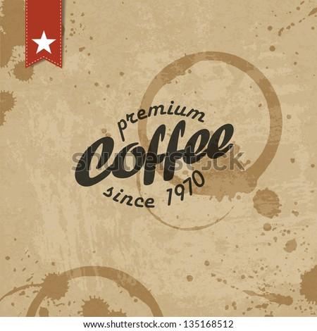 Coffee grunge retro background. Vector, EPS10 - stock vector