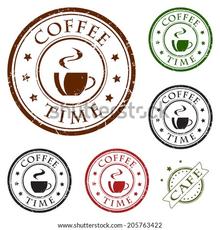 Coffee grunge rubber stamps and stickers icons, set, brown, black, red and green isolated on white background, vector illustration.