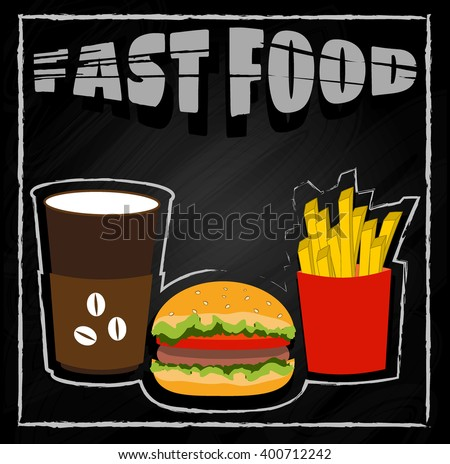 Coffee, hamburger, fries on black background