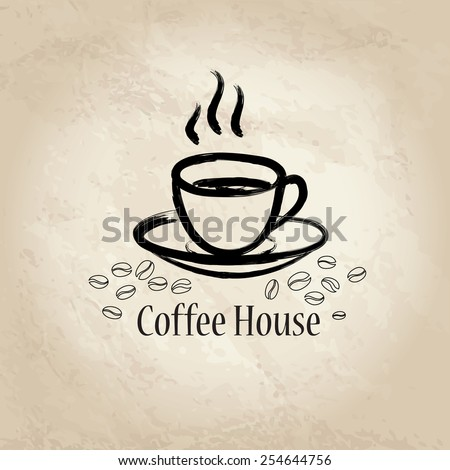 Coffee house background. Cafe vintage poster or banner. Coffee cup with coffee beans. - stock vector