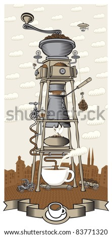 coffee house in the city - stock vector