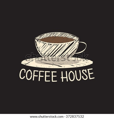 Coffee house logo. Cafe. Coffee shop. Doodle style. Vector illustration. - stock vector