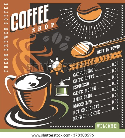 Coffee house menu creative template. Cafe price list with cup of coffee and coffee beans. Vector layout for fresh brewed coffee. Graphic design elements set for local coffee shop. - stock vector