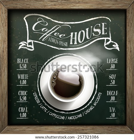 coffee house menu design with top view coffee over blackboard - stock vector