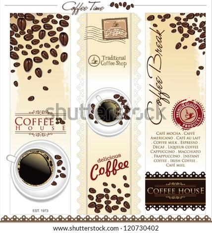 Coffee house menu label - stock vector