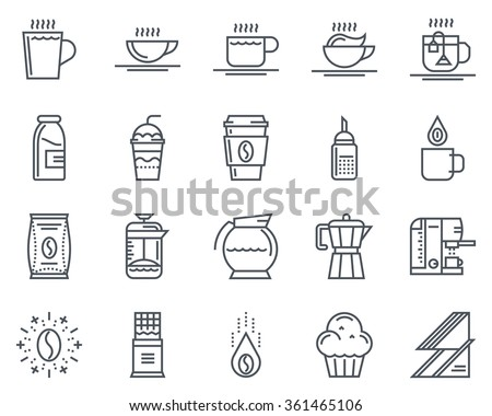Coffee icon set suitable for info graphics, websites and print media and  interfaces. Line vector icon set. - stock vector