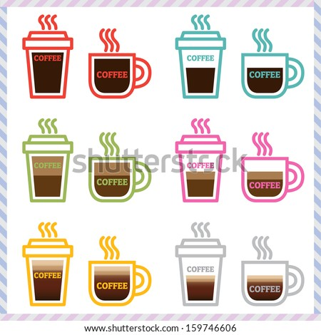 coffee icons in flat design vector set - stock vector