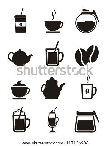 coffee icons isolated over white background. vector - stock vector
