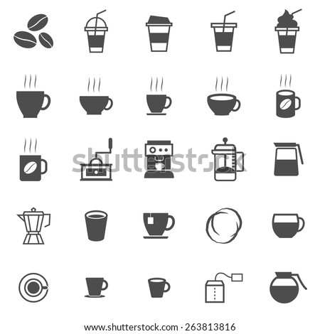 Coffee icons on white background, stock vector - stock vector