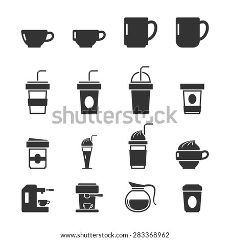 Coffee Icons on white Background,Vector EPS10. - stock vector
