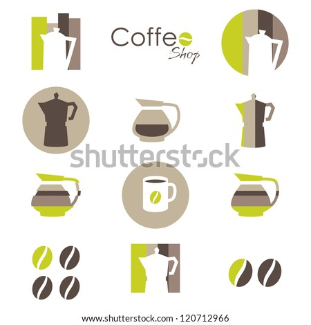 Coffee icons set - elements for your logo design - stock vector