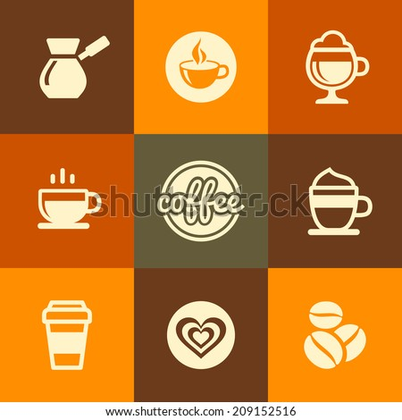 Coffee Icons Set in Flat Design Color Style. Vector illustration - stock vector