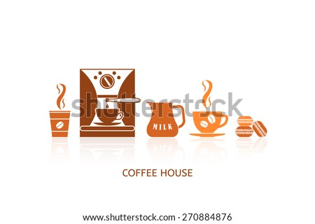 Coffee icons set in minimalistic style. Flat coffee icons. Coffee house. Vector illustration EPS 10. - stock vector